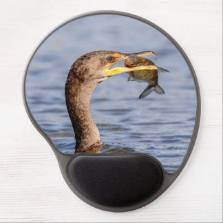 Cormorant with a fish gel mouse pad