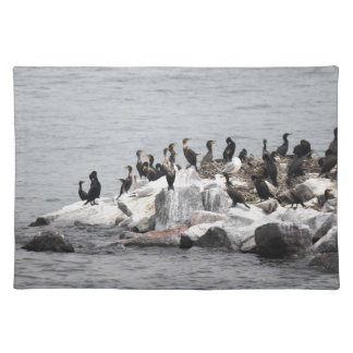 Cormorants on the island of the river cloth placemat