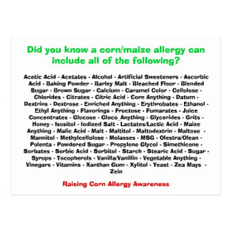 Corn Allergy List - Postcard