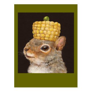 corn and pea hatted squirrel postcard