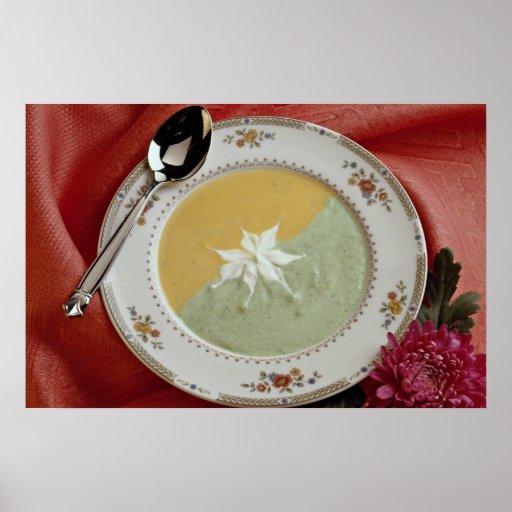 Corn and pea soup print