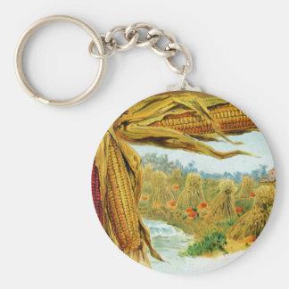 Corn and Pumpkins Vintage Thanksgiving Basic Round Button Keychain