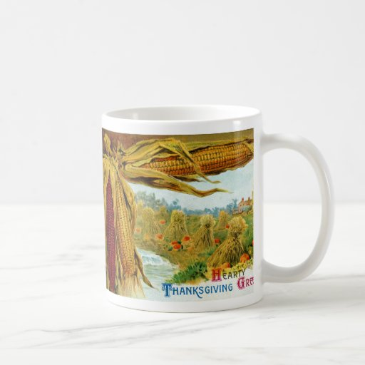 Corn and Pumpkins Vintage Thanksgiving Coffee Mug