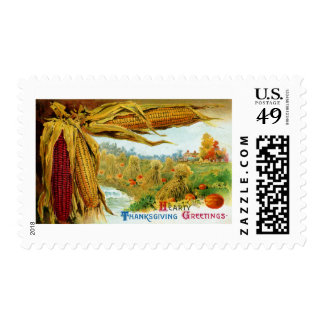 Corn and Pumpkins Vintage Thanksgiving Stamps