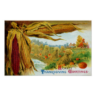Corn and Pumpkins Vintage Thanksgiving Poster