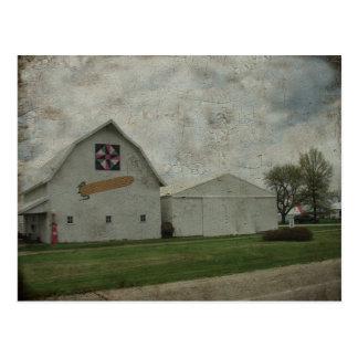 Corn Barn Crackle Postcard
