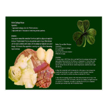 Corn Beef and Cabbage Recipe Card Postcard