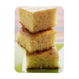 Corn bread, cut into cubes (in a pile) magnet