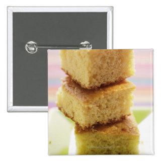 Corn bread, cut into cubes (in a pile) pinback button