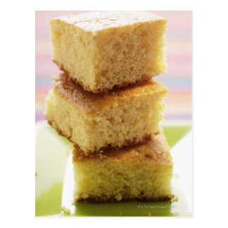 Corn bread, cut into cubes (in a pile) postcard