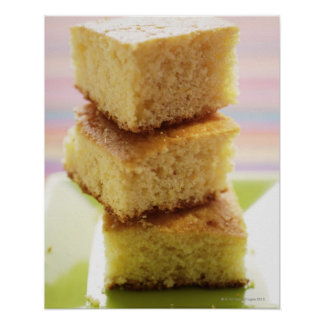 Corn bread, cut into cubes (in a pile) poster