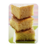 Corn bread, cut into cubes (in a pile) rectangular photo magnet