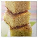 Corn bread, cut into cubes (in a pile) large square tile