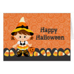 Corn Candy Little Witch Girl Happy Halloween Greeting Card