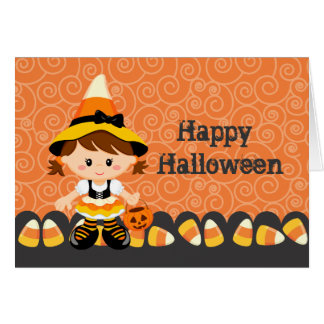 Corn Candy Little Witch Girl Happy Halloween Cards