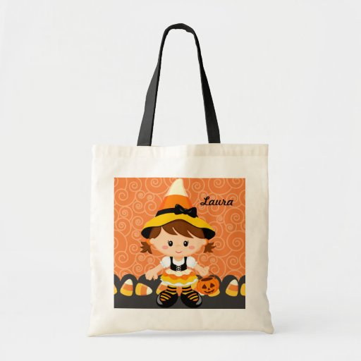 Corn Candy Little Witch Girl Trick or Treat Cute Canvas Bag