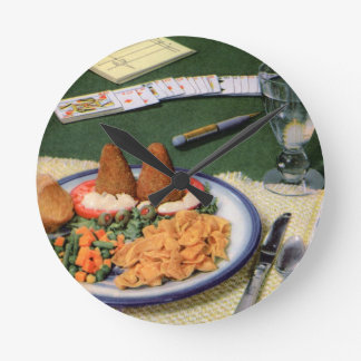 Corn chip croquettes round wall clock