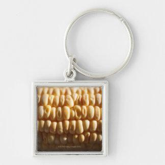 Corn close-up Silver-Colored square keychain
