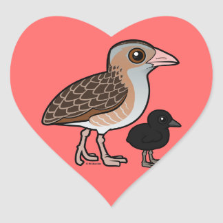 Corn Crake with baby Heart Sticker