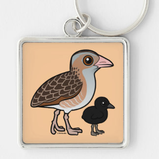 Corn Crake with baby Keychain