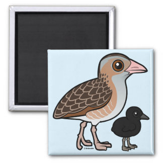 Corn Crake with baby 2 Inch Square Magnet