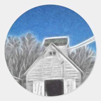 Corn Crib 1 Enhanced Oil Classic Round Sticker