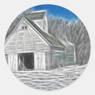 Corn Crib 4 Enhanced Oil Classic Round Sticker