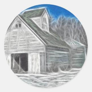 Corn Crib 5 Enhanced Oil Classic Round Sticker