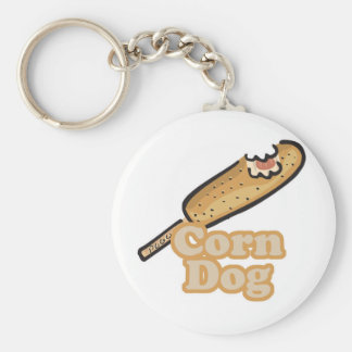 corn dog basic round button keychain