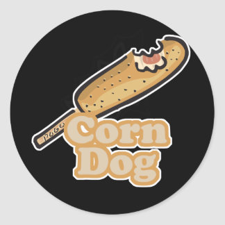 corn dog classic round sticker