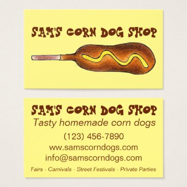 Professional Business Corn Dog Corndog w/ Mustard Fair Carnival Food Business Card