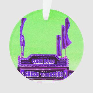corn dog purple stand green spotty sky ornament