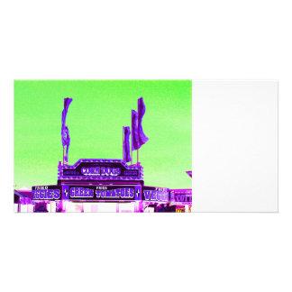 corn dog purple stand green spotty sky photo card