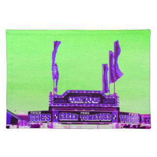 corn dog purple stand green spotty sky placemat