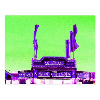 corn dog purple stand green spotty sky postcard
