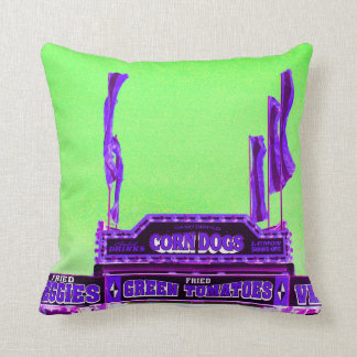 corn dog purple stand green spotty sky throw pillow