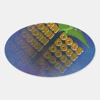 corn dogs oval sticker