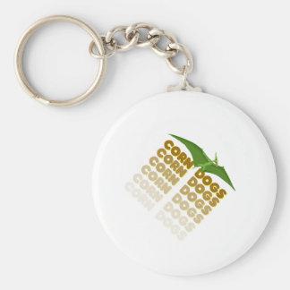 corn dogs pterodactyl basic round button keychain