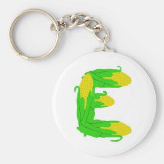 Corn E Basic Round Button Keychain