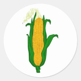 Corn ear of corn corn cob classic round sticker