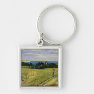 Corn Field in the Isle of Wight Silver-Colored Square Keychain