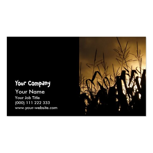 Corn field silhouettes business card templates
