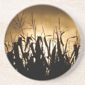 Corn field silhouettes sandstone coaster