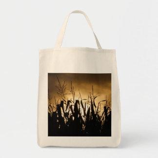 Corn field silhouettes tote bag