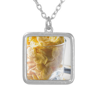Corn flakes and glass of milk silver plated necklace