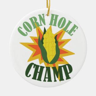 Corn Hole Champ Ceramic Ornament