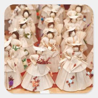 Corn husk dolls square sticker