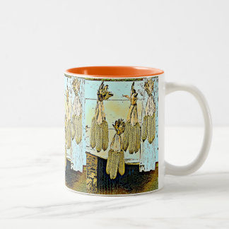 Corn Husk Painting Two-Tone Coffee Mug