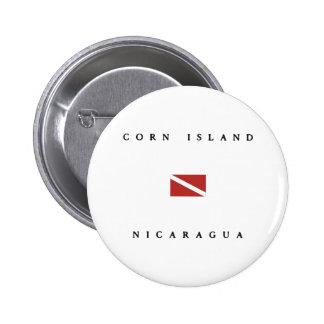 Corn Island Nicaragua Scuba Dive Flag Pinback Button