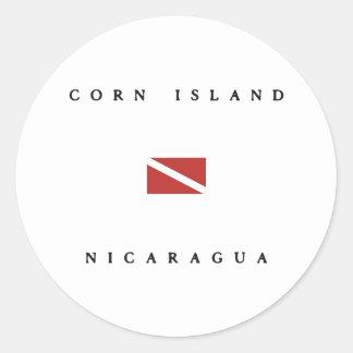 Corn Island Nicaragua Scuba Dive Flag Round Stickers